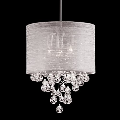 Drum Round Fabric Cloth Shade 3 Lamp Mini Pendant Crystal Teardrops Balls Ceiling Light Dia 15″