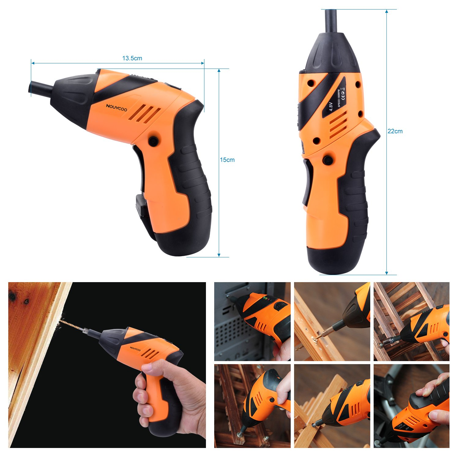 NOUVCOO 45 in 1 Portable Electric Cordless Rechargeable Screwdriver kit,4.8V Cordless Drill Power Tools with Led/&43pcs Screws Sleeves and Drill Bits with case NC09