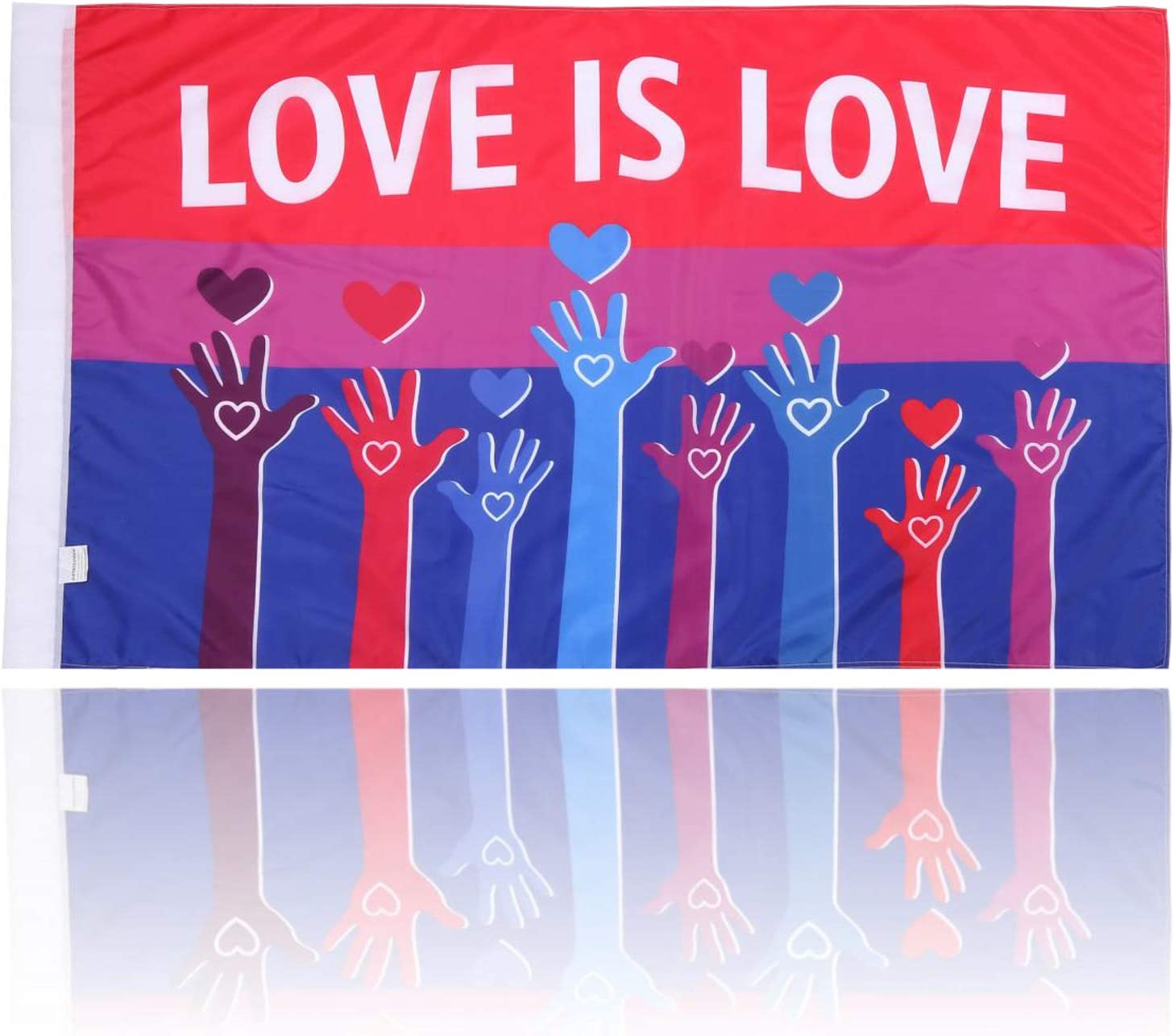 BATATADOCE Bisexual Pride Flag Progress Bi Banner-3x5 Fts LGBT Bisexual Flags,Parade Garden House Outdoor Banner Flags-UV Fade Resistant Slogan Flag- Love is Love