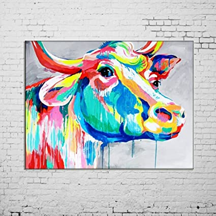 Osm Art Hand Painted Animals Oil Painting On Canvas Hang Picture Abstract Color Cow Wall