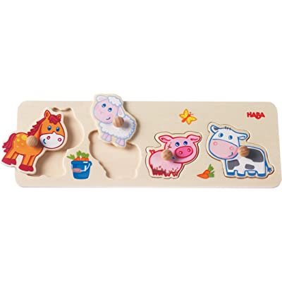 HABA Baby Farm Animals Clutching Puzzle - 4 Piece Jumbo Knob Wooden Puzzle for Ages 1 and Up: Toys & Games