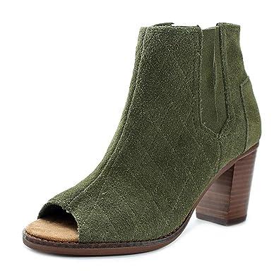 0f4d47018cc TOMS Women s Majorca Peep Toe Bootie Tarmac Olive Suede Quilted Sandal