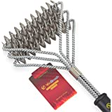 Grill Brush, Bristle Free BBQ Grill Brush 100% Rust Resistant Stainless Steel Barbecue Grill Cleaner, Great Grilling Accessories for Stainless Steel, Ceramic, Iron, Gas & Porcelain Barbecue Grates