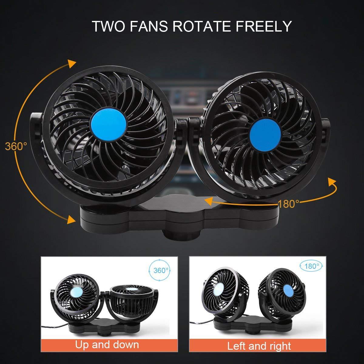 SEAMETAL Car Fan for Back Seat, Car Seat Fan Cigarette Lighter, Fan for Car 12V Headrest Black 4inches (Blue) by SEAMETAL (Image #4)