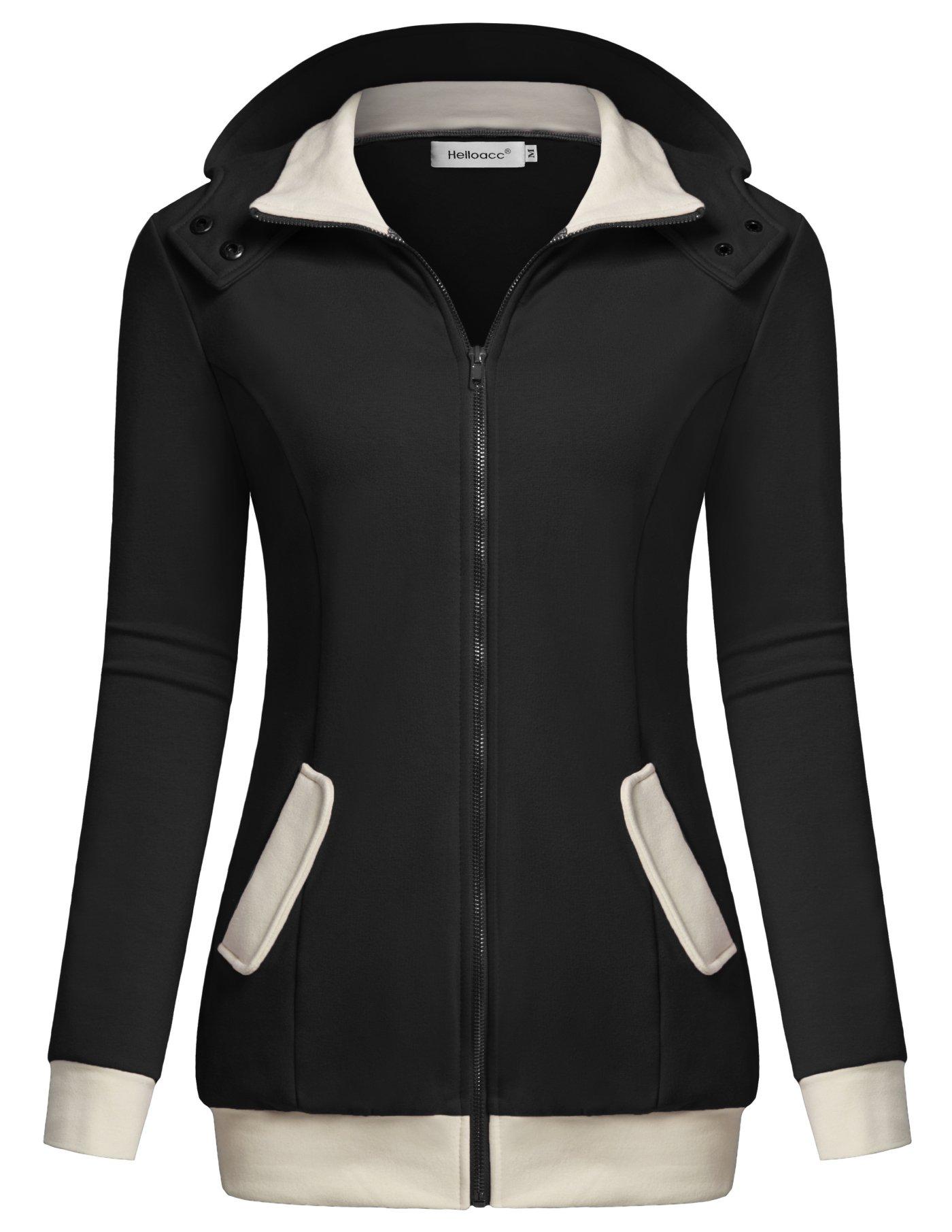 Helloacc Women Sweatshirts, Long Sleeves Coat Zipper Color Block Hoodies Black XL