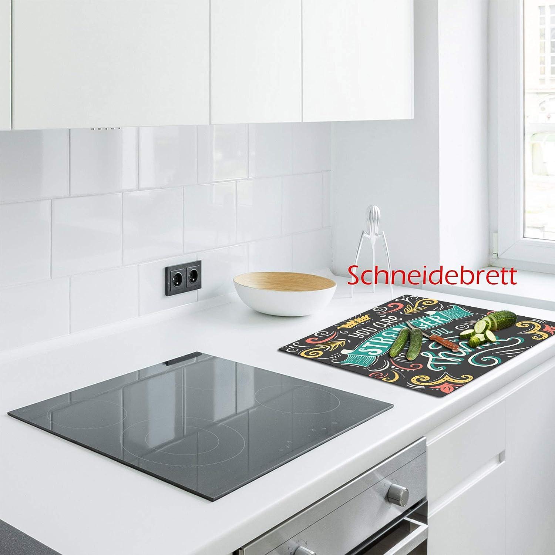 Ceranfeldabdeckung Herdabdeckplatten Spritzschutz Glas Früchte 2x30x52 cm