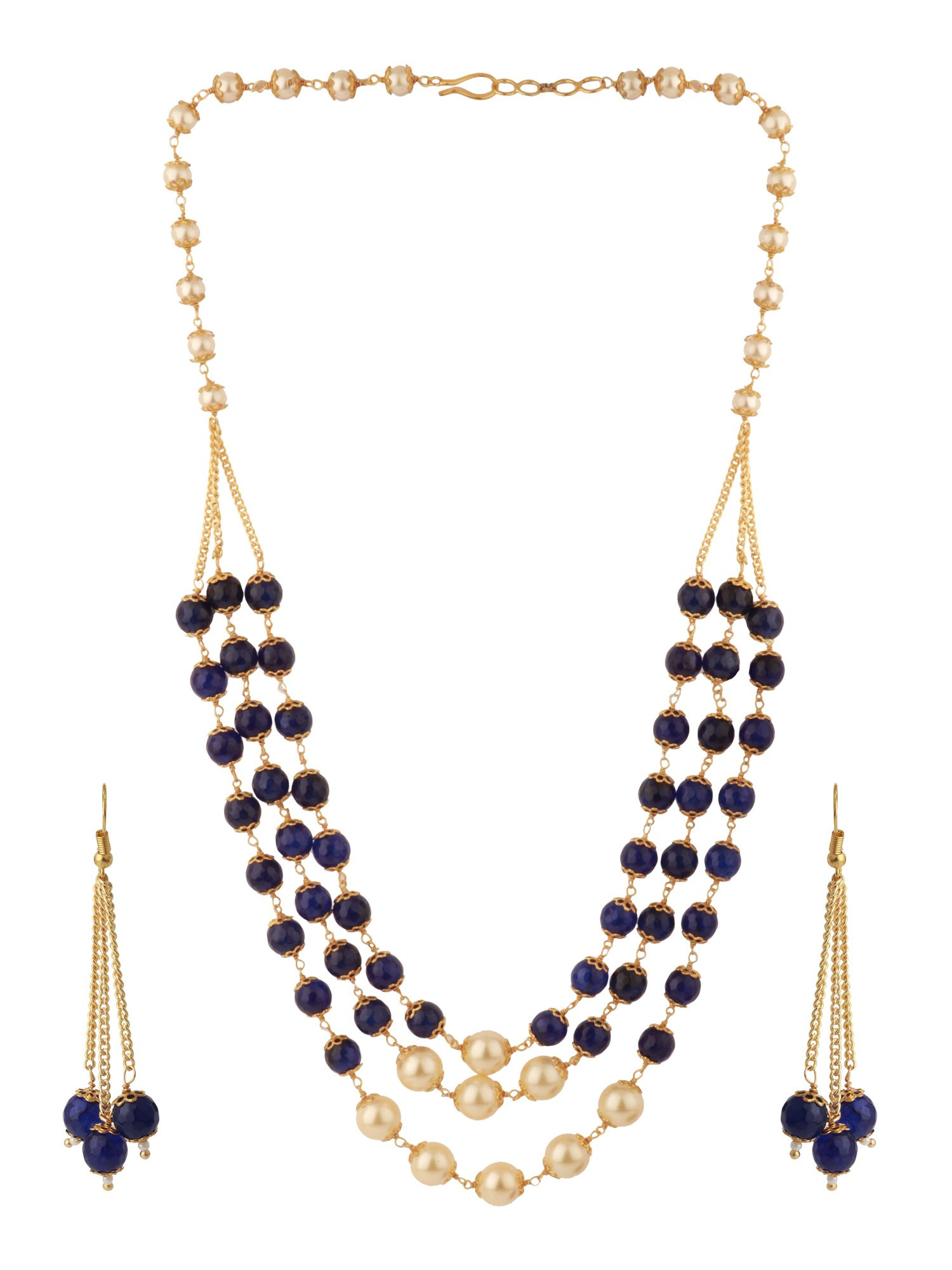 Efulgenz Indian Multi Layered Blue Faux Sapphire Pearl Beads Wedding Bridal Necklace Earrings Jewelry Set