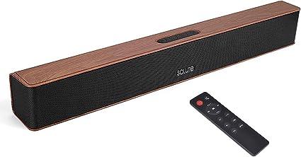 Salute Retro Style - Barra de Sonido inalámbrica con Bluetooth, 21 Pulgadas, 4 x 6 W, portátil, Recargable, con subwoofer y Control Remoto de Audio FM (marrón): Amazon.es: Electrónica