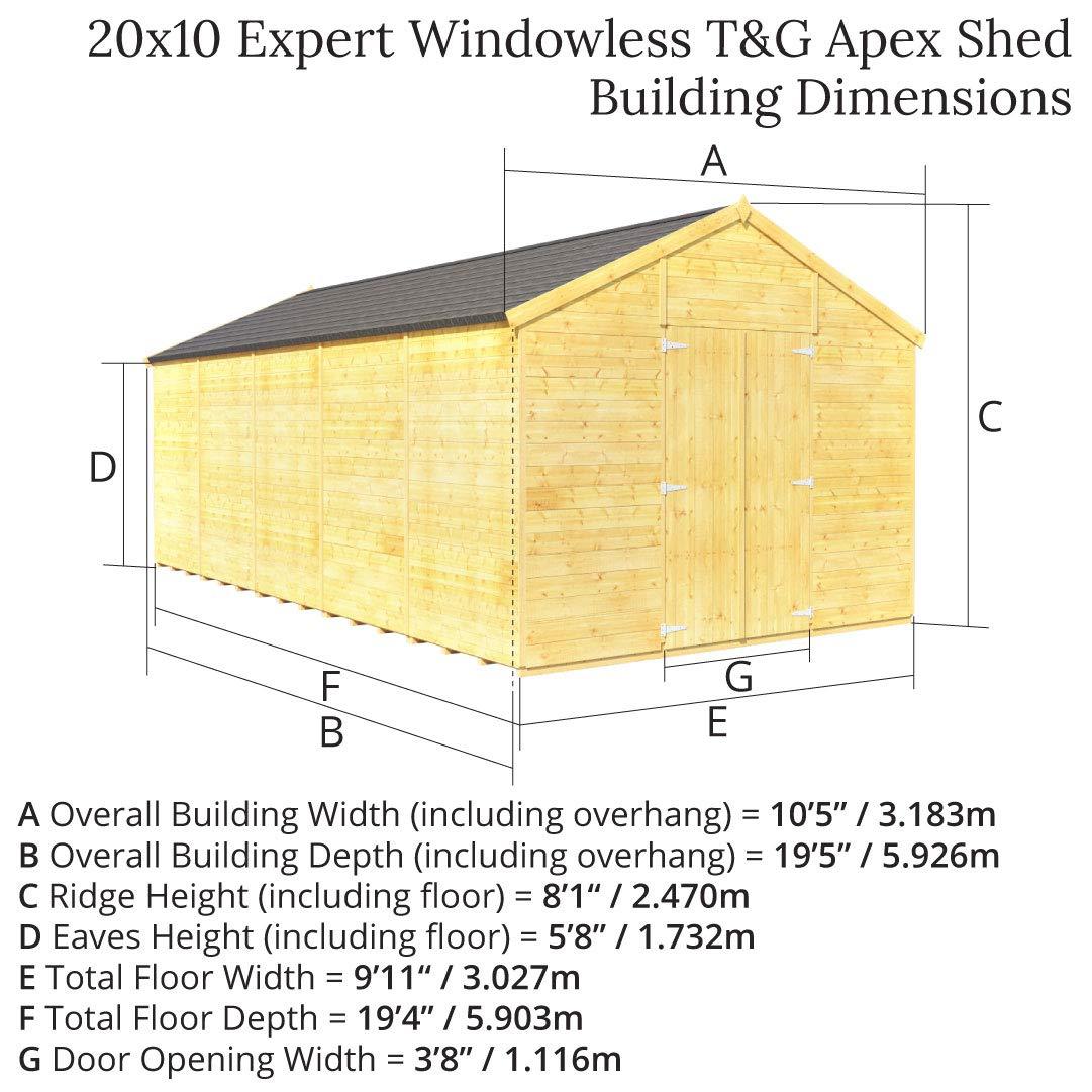 Lengua y Groove de madera taller cobertizo de jardín (doble puerta sin ventanas Apex Premium techo Piso Fieltro: Amazon.es: Jardín