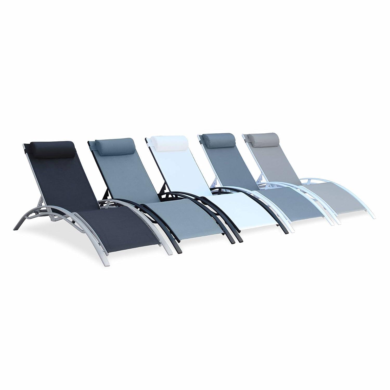 2 Aluminium and textilene sun loungers reclining garden chair sun lounger recliner anthracite//white Alices Garden