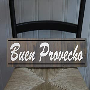 BYRON HOYLE Buen Provecho Spanish Kitchen Framed Wood Sign, Wooden Wall Hanging Art, Inspirational Farmhouse Wall Plaque, Rustic Home Decor for Nursery, Porch, Gallery Wall, Housewarming