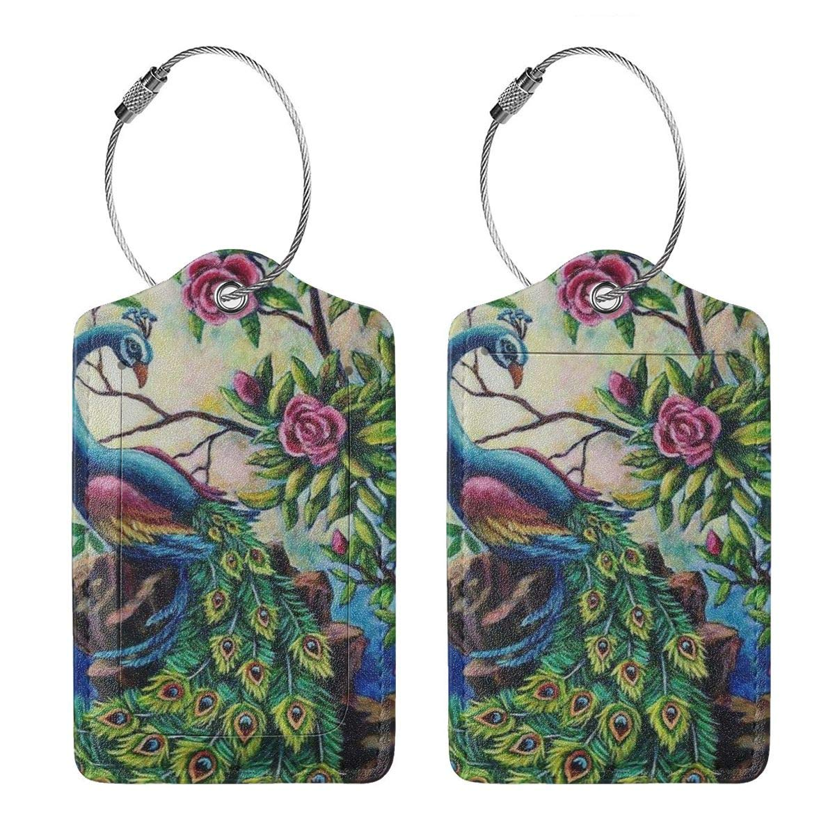 Vintage Peacock Feather Tail Rose Leather Luggage Tags Personalized Travel Accessories With Adjustable Strap