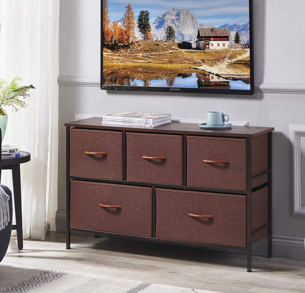 ALLZONE 5 Dresser Chest of Drawers, Extra Wide Storage Tower Unit for Bedroom, Closets, Hallway, Entryway, Nursery
