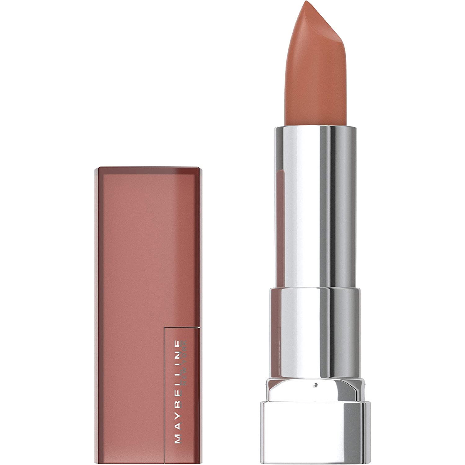 Maybelline Color Sensational Lipstick, Lip Makeup, Matte Finish, Hydrating Lipstick, Nude, Pink, Red, Plum Lip Color, Raw Chocolate, 0.15 oz. (Packaging May Vary)