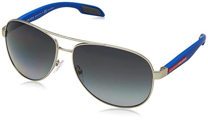 7627bb6327 Image Unavailable. Image not available for. Colour  Prada Linea Rossa PRADA  SPORT BENBOW 53PS SILVER BLUE GREY SHADED men Sunglasses