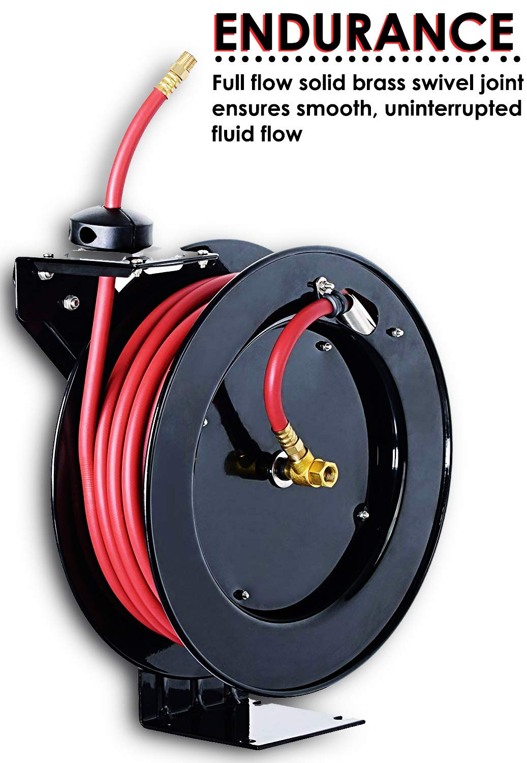 "REELWORKS Air-Hose-Reel Retractable 3/8"" x 50\' Max 300 Spring Driven Steel Construction Heavy Duty Industrial PSI Premium Commercial SBR Rubber Hose 71N7VqBLb2L._SL1500_"