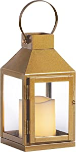 Sterno Home GL43836 Square Metal and Glass Integrated Flameless LED Candle, Gold Lantern