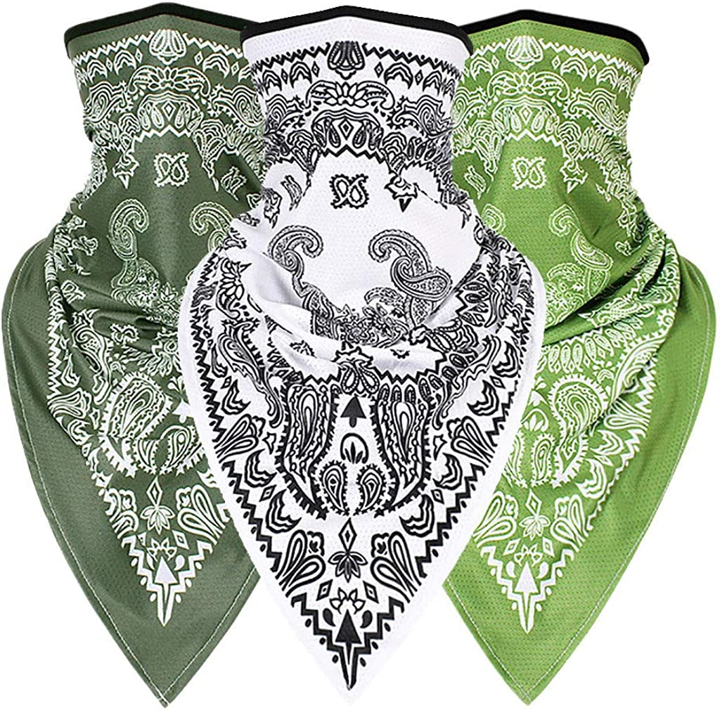 Moneycom 3PC Unisex Rave Bandana Neck Polainas tubulares para mujeres hombres cara bufanda Multi-Scarf Outdoor pañuelo multicolor