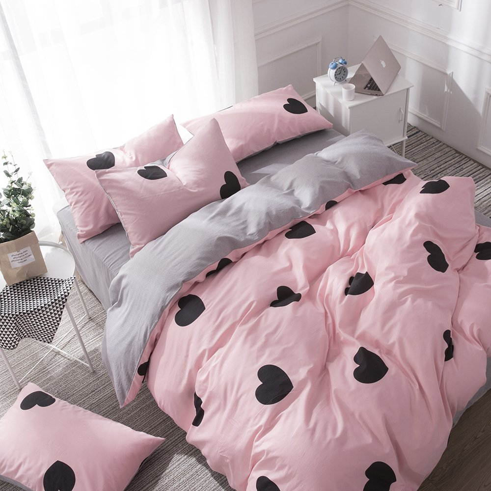 BHUSB Kids Girls Pink Duvet Cover Sets Twin Premium Cotton Love Heart Print Reversible Grey Geometric Stripe Pattern Bedding Sets with Zipper Closure for Children Boys Bedding Collection Twin by BHUSB (Image #3)
