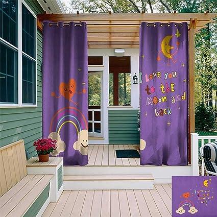 Amazon com : leinuoyi I Love You, Outdoor Curtain Panels Set