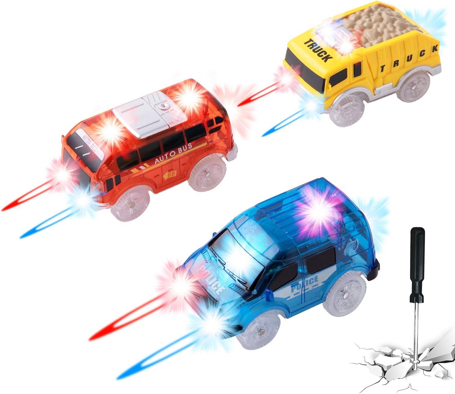 Tamkyo Paquete de 3 Autos de Pista Compatibles con Magic Tracks y Neo Tracks Reemplazo de Accesorios de Pista Carreras de Luces con 5 Luces LED Intermitentes Juguetes para Ni?Os y Ni?As