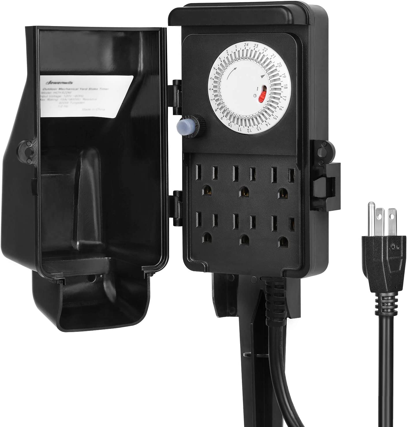 DEWENWILS Outdoor Mechanical Power Strip Timer, Outdoor Yard Stake Timer, Waterproof, 6 Grounded Outlets, 6 ft Extension Cord, Mechanical Timer for Pool, Pumps, Ponds, Fountain, 1800W/15A Heavy Duty