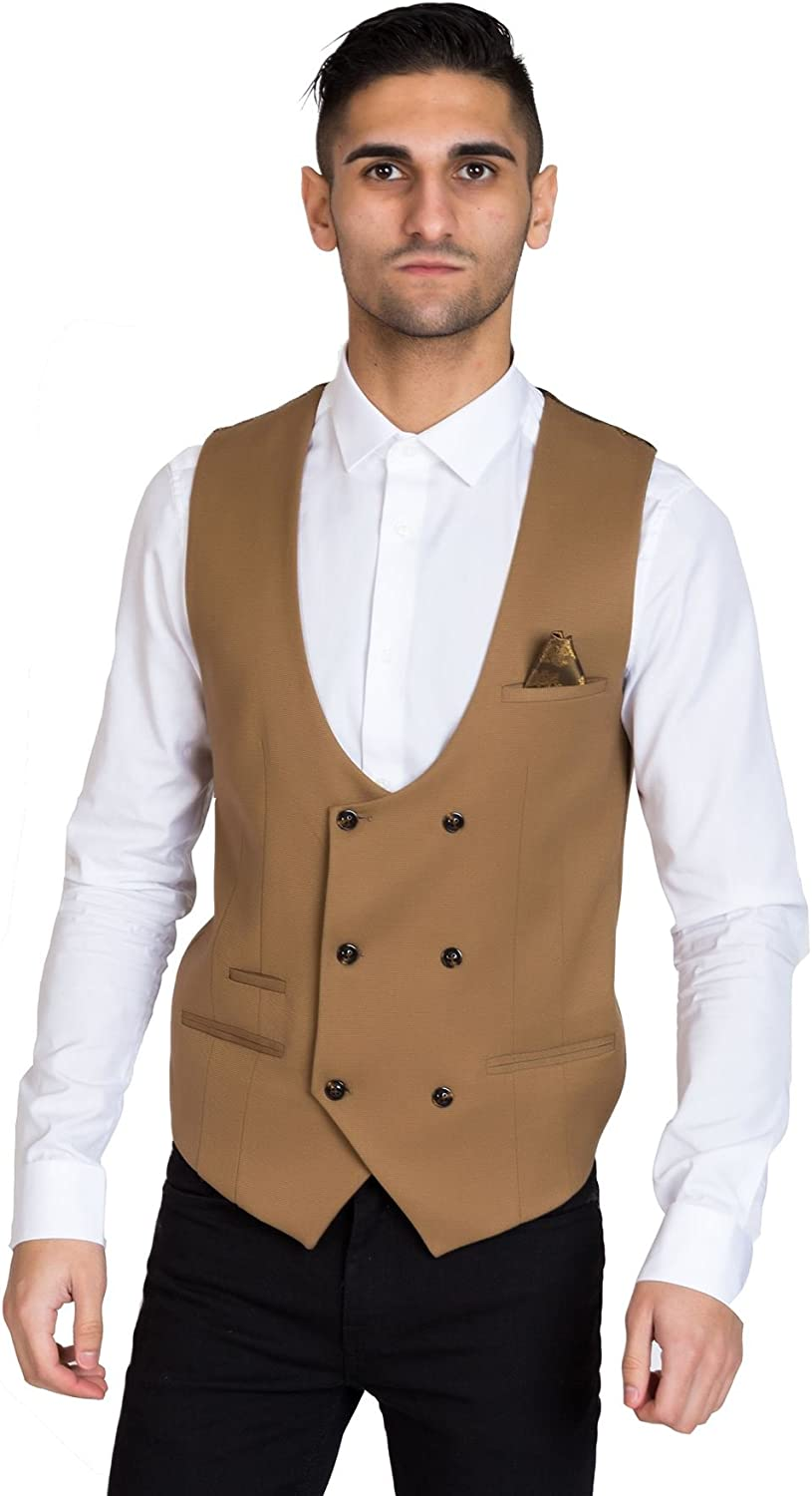 New Vintage Tuxedos, Tailcoats, Morning Suits, Dinner Jackets Marc Darcy Mens Tan Brown Double Breasted Waistcoat Smart Formal Vest by £48.99 AT vintagedancer.com