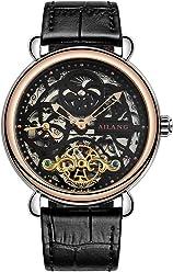 AILANG Tourbillon Skeleton Automatic Mechanical Men Watches Leather Strap AL5810