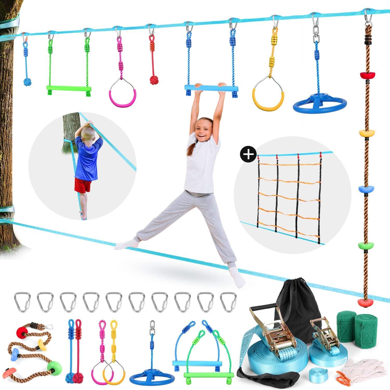 Odoland 50ft Slackline ninja line Monkey Bar Kit for Obstacle Course Setting, Colorful Slackline Kit with Arm Trainer Line, Tree Protectors, Instruction Booklet, Carry Bag and Work Gloves for Backyard