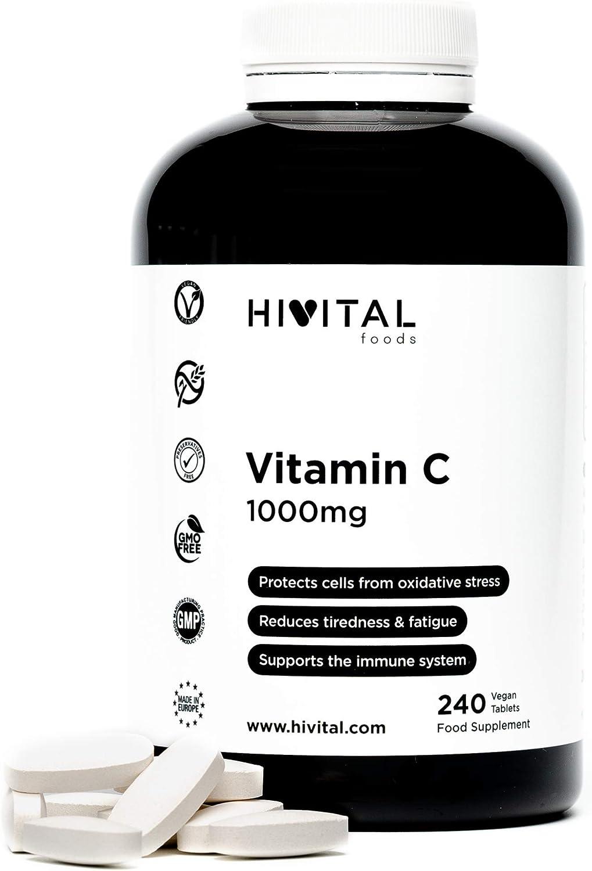 Vitamina C 1000 mg. 240 comprimidos veganos de Vitamina C pura (Tratamiento para 8 meses). Producto desarrollado y fabricado en España por Laboratorios HIVITAL.
