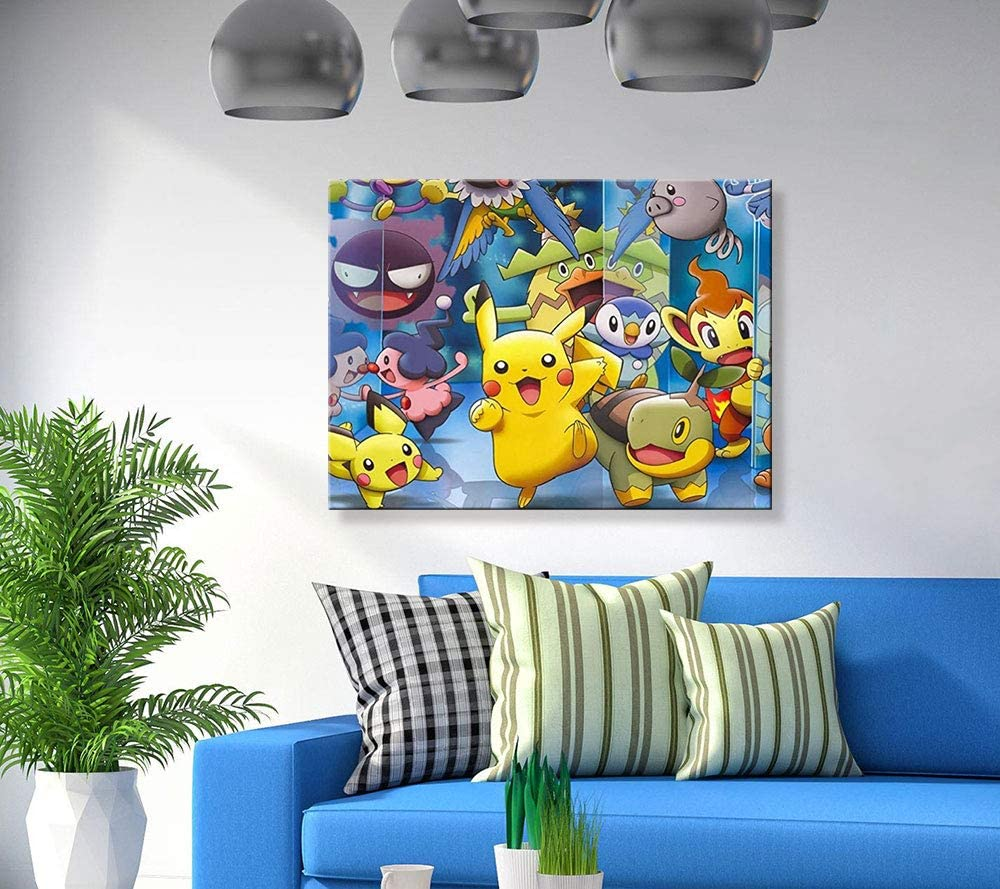 Pikachu 5D Diamond Painting by Number Kits,Diamond Painting Kits for Adults,Diamond Art,Painting Cross Stitch Full Drill Crystal Rhinestone Embroidery Pictures Arts Craft for Home Wall Decor 14x18