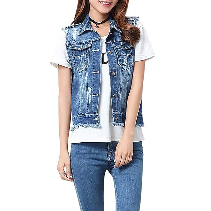 2d275a9935 HaiDean Gilet Jeans Donna Corto Fashion Strappato Smanicato Jeans ...