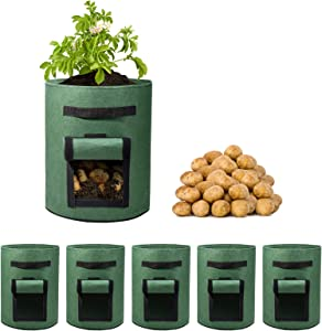 WOHOUS 5 Pack 10 Gallon Potato Grow Bags Two SidesVelcro Window Vegetable Grow Bags, Double Layer Premium Breathable Nonwoven Cloth for Potato/Plant Container/Aeration Fabric Pots with Handles