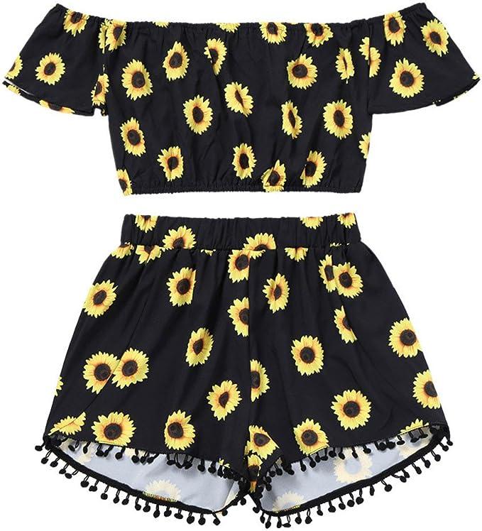 Proumy Ropa Conjunto con Pantalones Camiseta Negra Mujer ...