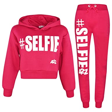 77fcfa7f7bf2 A2Z 4 Kids Kids Girls Tracksuit Designer #Selfie Jogging Suit Hooded Crop  Top & Bottom