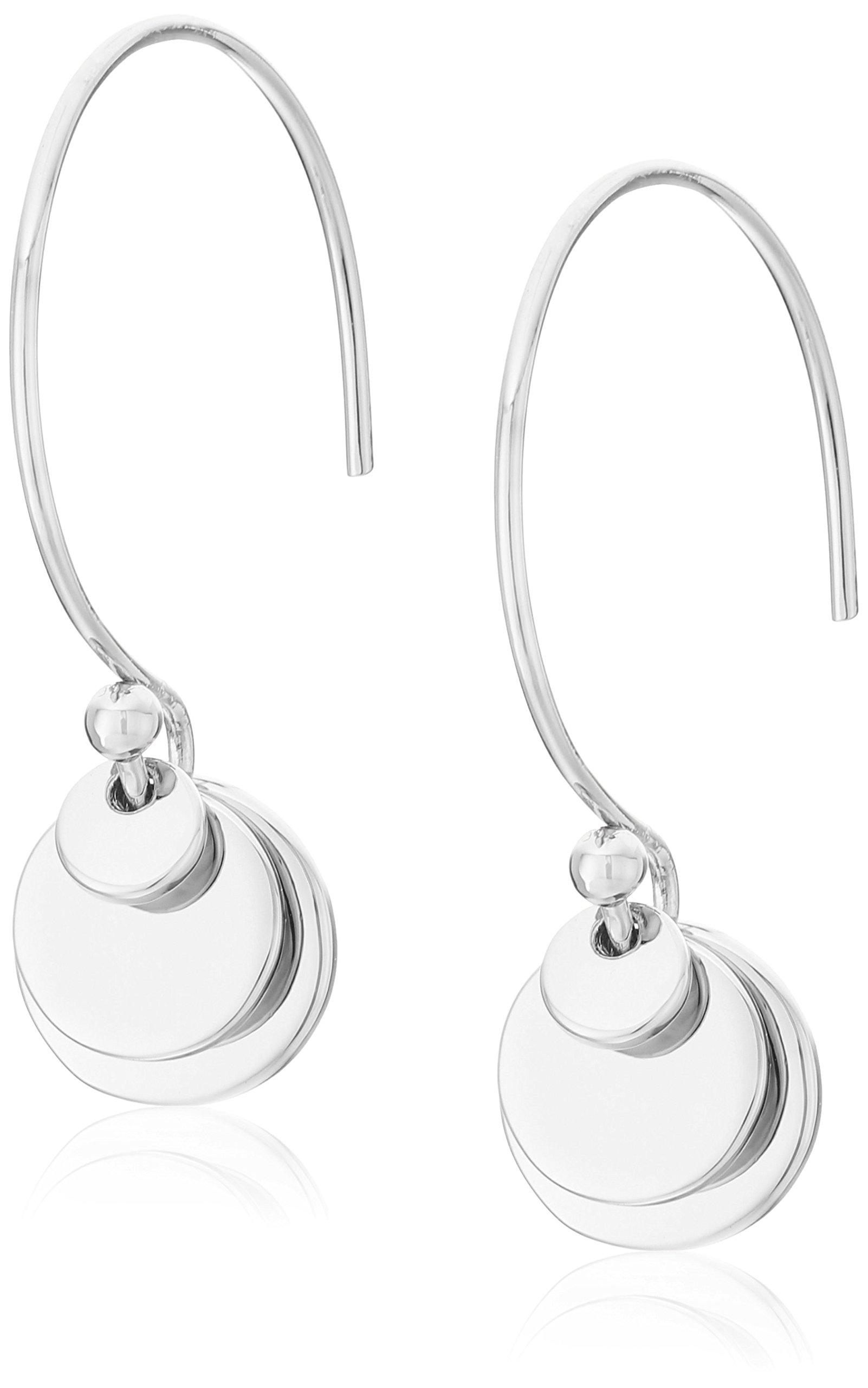 Diane von Furstenberg ''Summer Disco'' Layered Circle Pull Thru Silver Drop Earrings