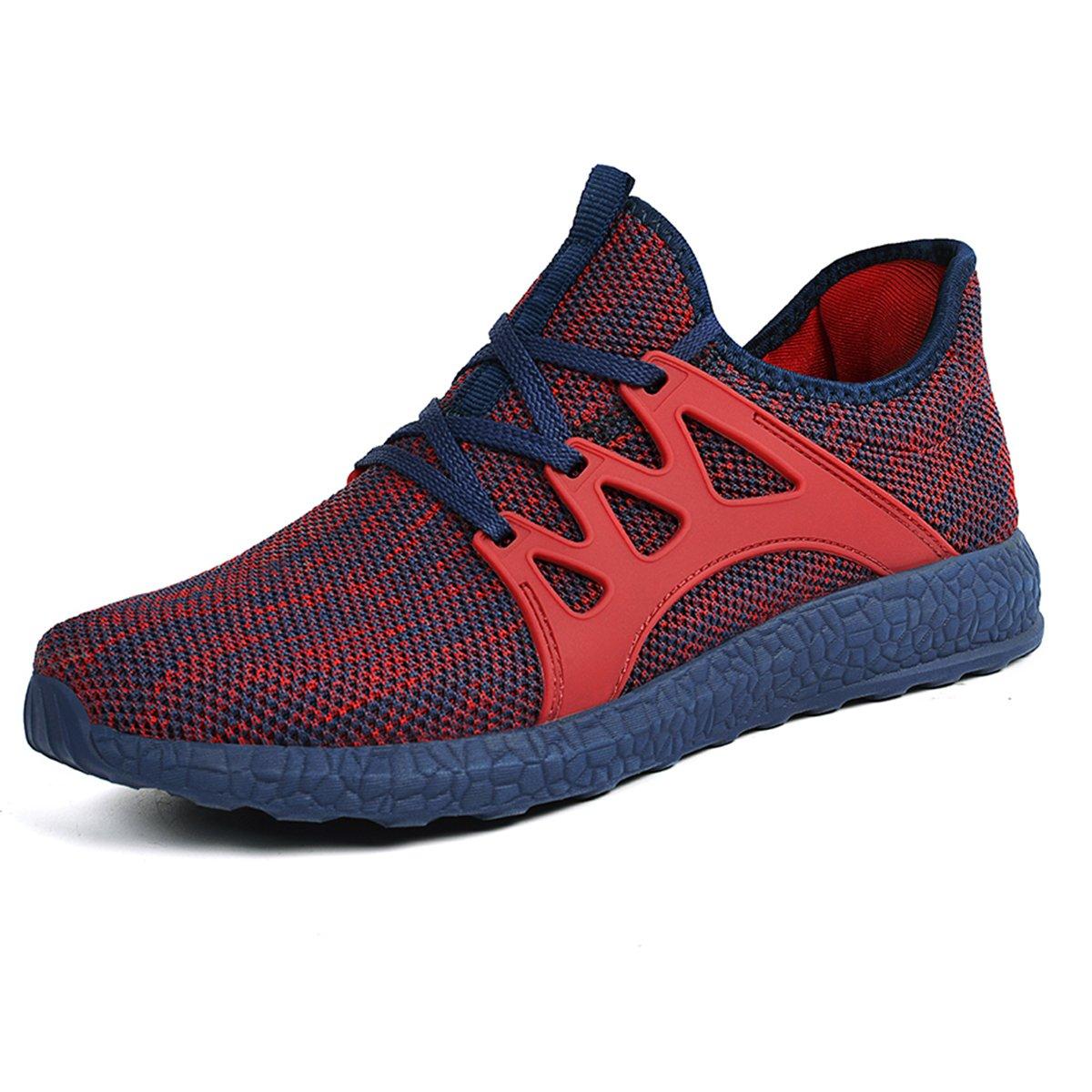 Red bluee Mxson Women's Ultra Lightweight Breathable Mesh Street Sport Walking shoes Casual Sneakers