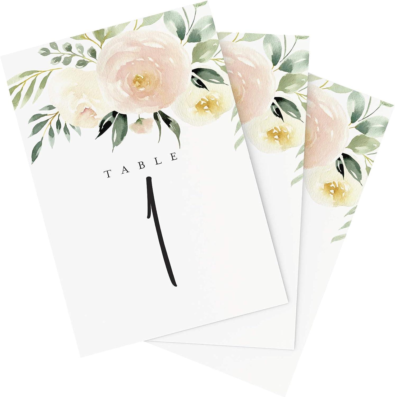 Floral Table Numbers Wedding Flowers