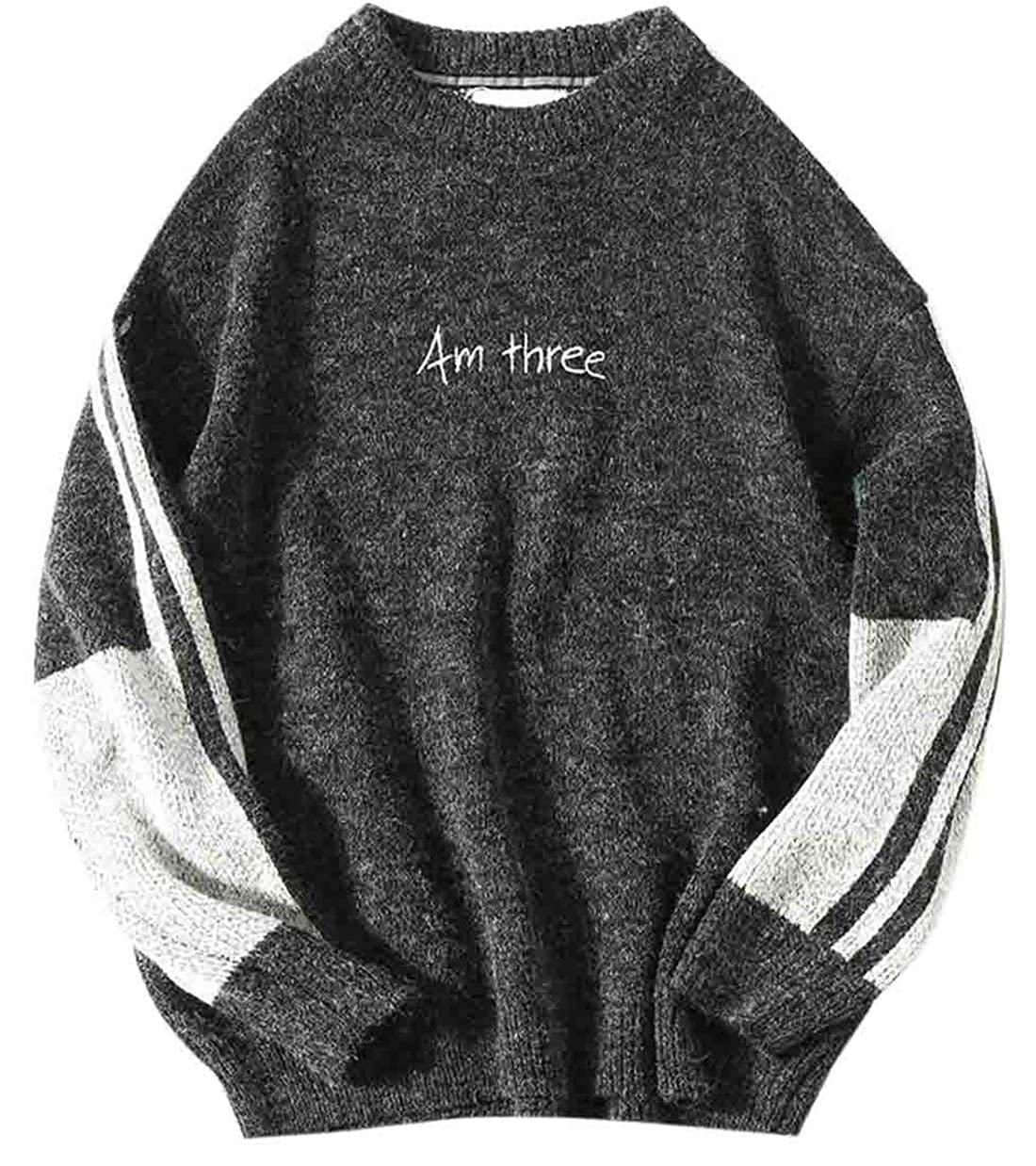 YYear Mens Crew Neck Casual Long Sleeve Fashion Letters Print Knitted Patchwork Sweater