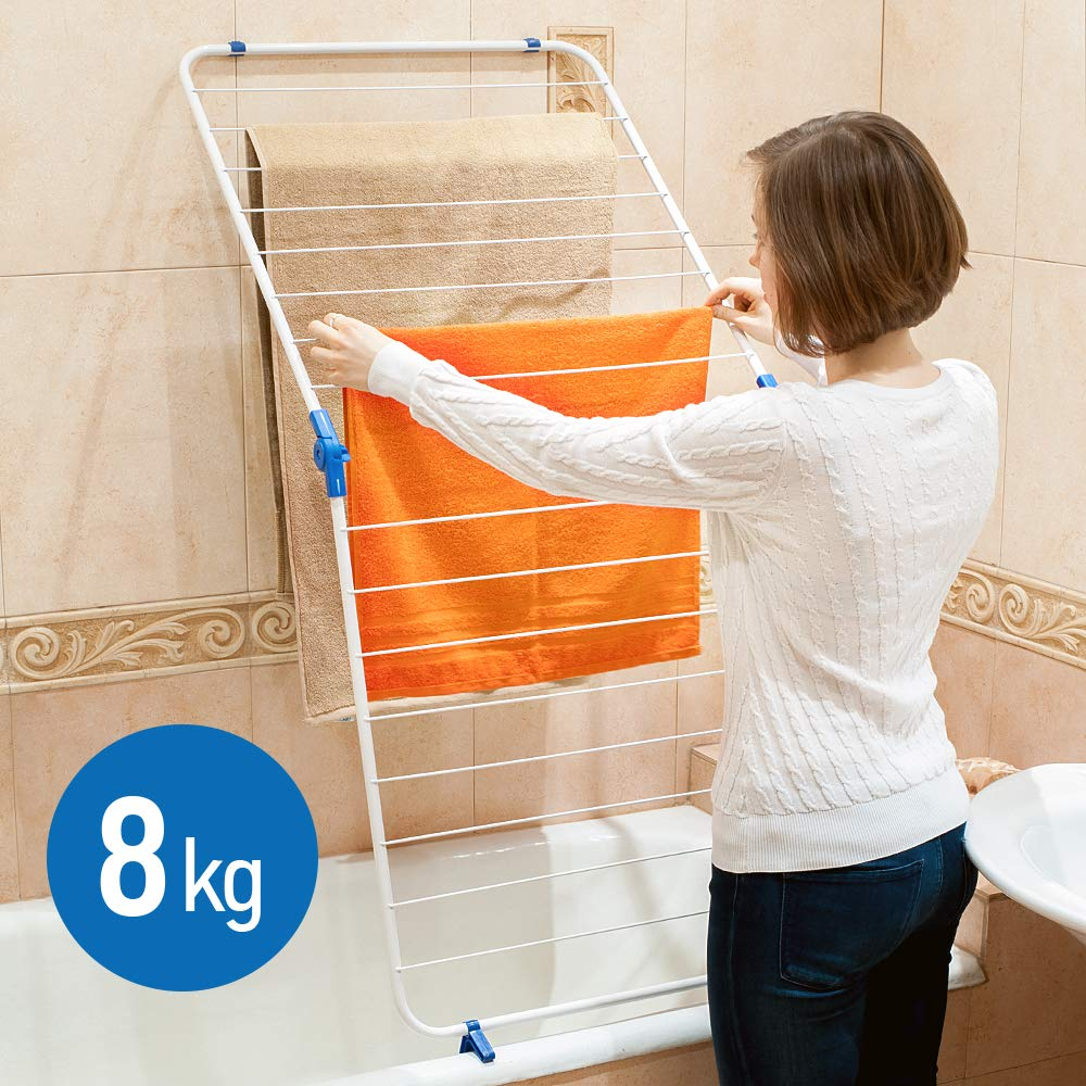 Amazon.com: ArtMoon Louise Collapsible Clothes Dryer, Folding Airer, Over Bath Bathtub Drying Rack with 16 Hanging Bars Steel / Plastic White 24X50 inch: ...