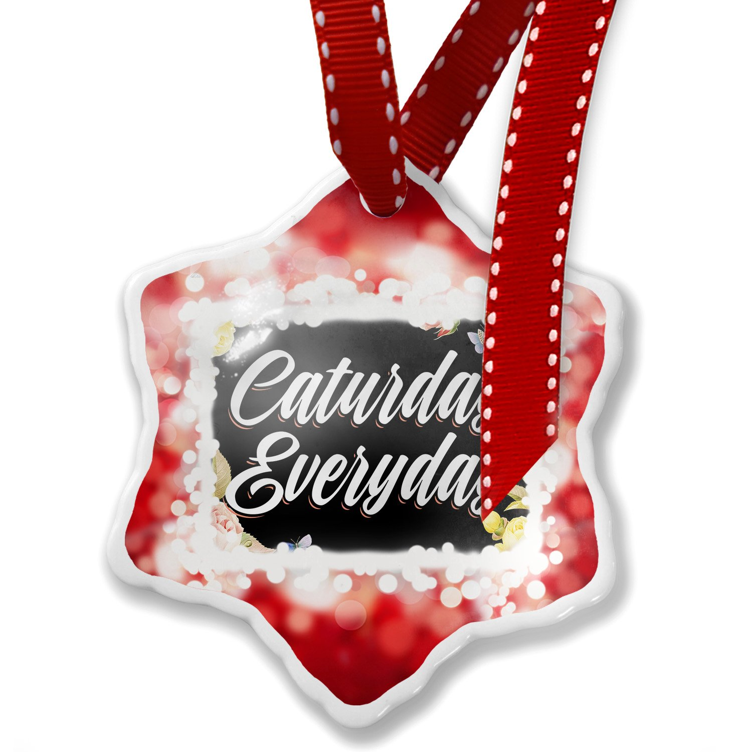 Christmas Ornament Floral Border Caturday Everyday, red - Neonblond
