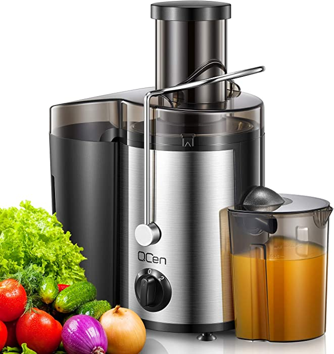 "Juicer Machine, Centrifugal Juicer Extractor with Wide Mouth 3"" Feed Chute for Fruit Vegetable, Easy to Clean, Stainless Steel, BPA-free, by QCen"
