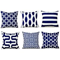 Topfinel Decorative Accent Pillow Covers Soft Microfiber Outdoor Cushion Covers 20 X 20 for Couch Bedroom Car, 50 x 50cm, Pack of 6