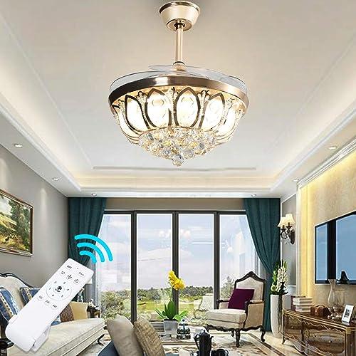 Ridgeyard 42″ Crystal Ceiling Lamp Fan Light LED Fan Chandelier Decorative Pendant Light