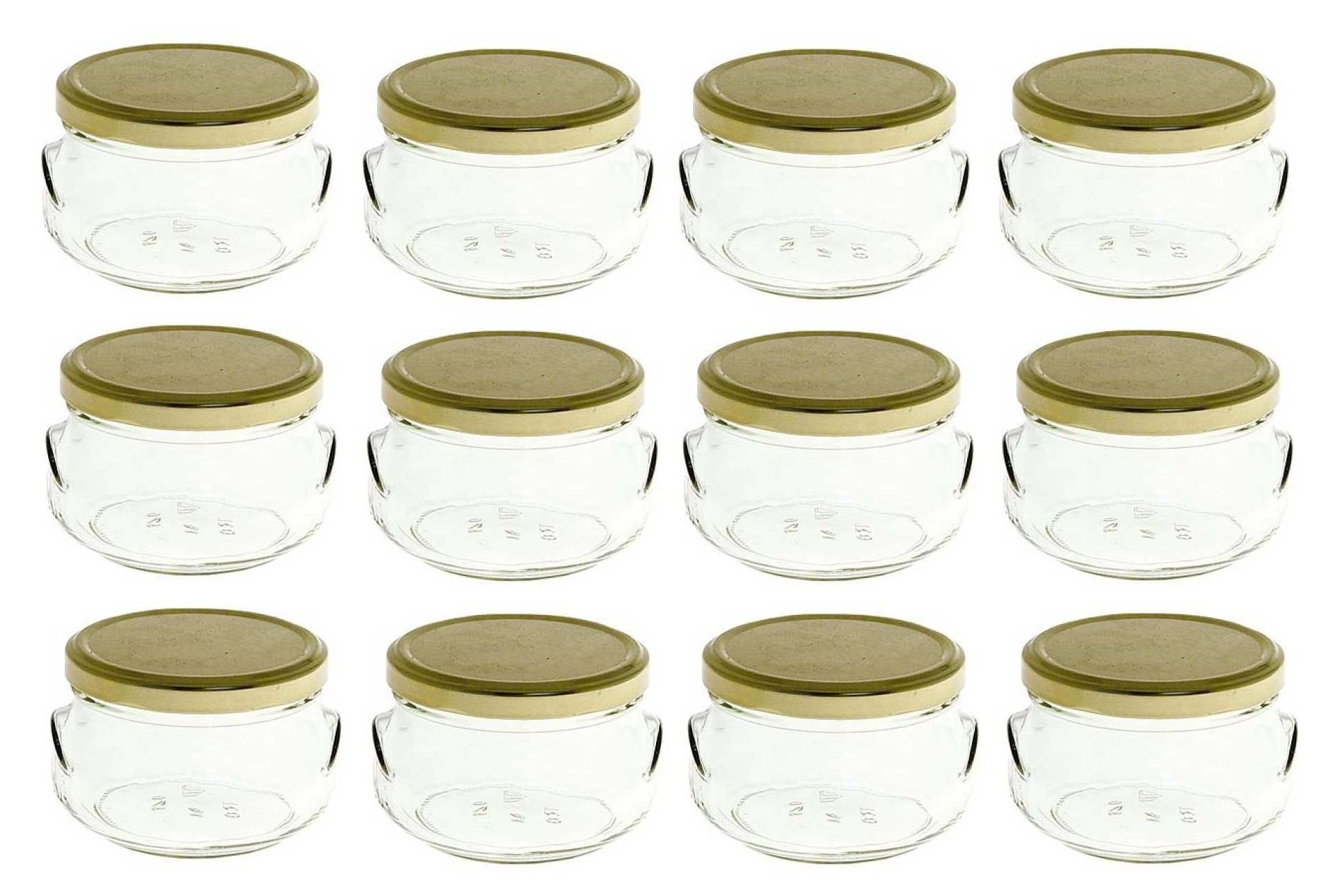 Nakpunar 12 pcs, 8 oz Tureen Glass Jars with Gold Lids (250 ml)