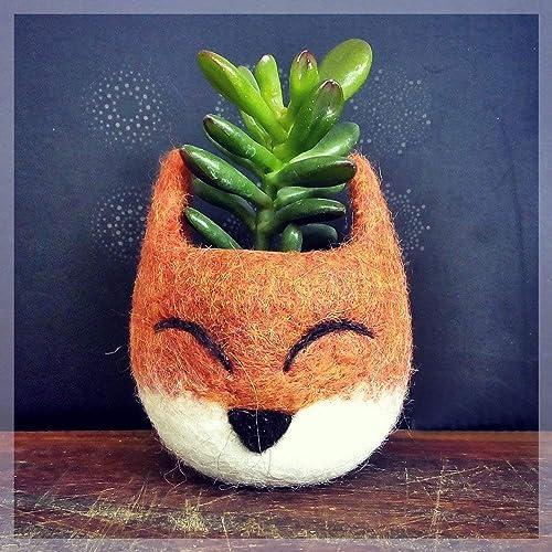 Succulent planter pot – Fox head planter – Felt succulent vase