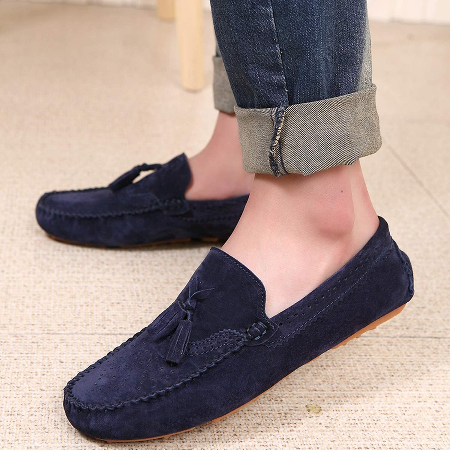 Men Loafers Navy Blue Genuine Leather Moccasins Slip On Tassel Casual Shoes Flats Moccasin Driving Shoes,Khaki,6.5