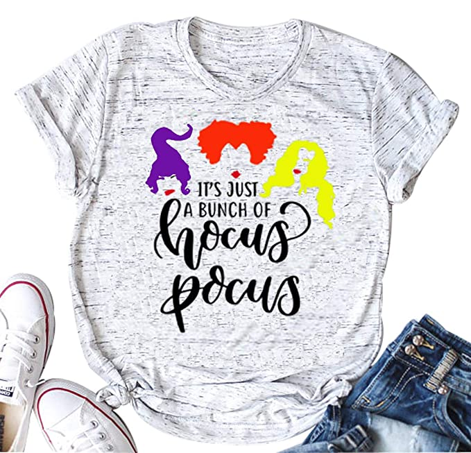 f4275f5e477 Amazon.com  It s Just A Bunch of Hocus Pocus Shirt Women Halloween Sanderson  Sisters Casual T-Shirt Top  Clothing