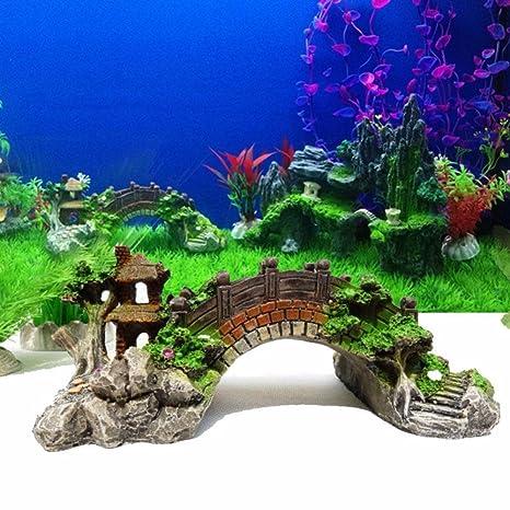 Owikar - Puente de resina para decoración de acuario con simulación colorida de árboles del Pabellón