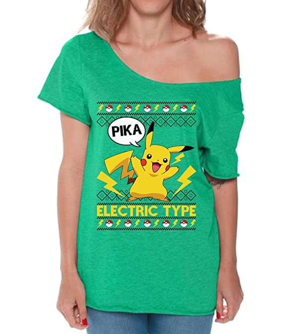 e847cb7c0 Amazon.com: Raxo Pikachu Electric Type Off Shoulder Shirt Pokemon Christmas  Shirt for Women: Clothing